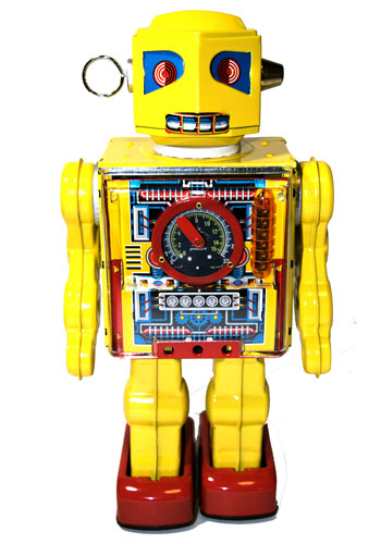 A classic sixties-era retro-style diecast metal toy robot, with fluctuating meters and a rotating antenna