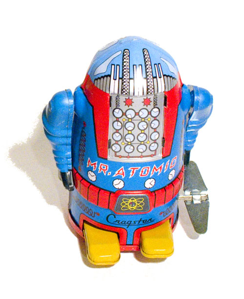 A small-size, classic sixties-era retro-design diecast metal toy robot, made in japan