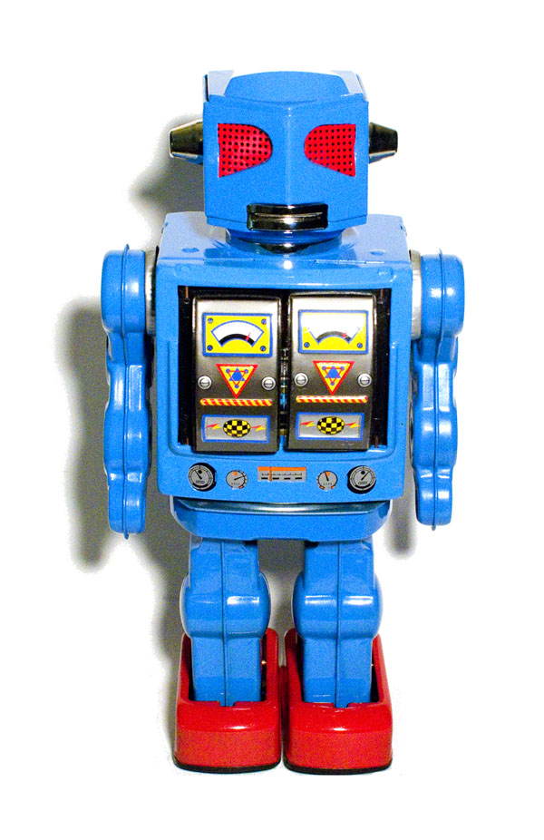 A classic sixties-era retro-style die-cast metal toy robot, designed and made in japan