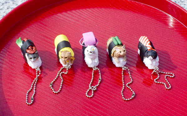 Set of sushi-cat keychains