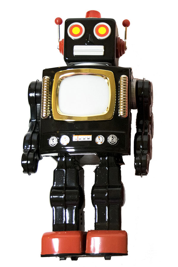 A classic sixties-era retro-style diecast metal toy robot, made in japan